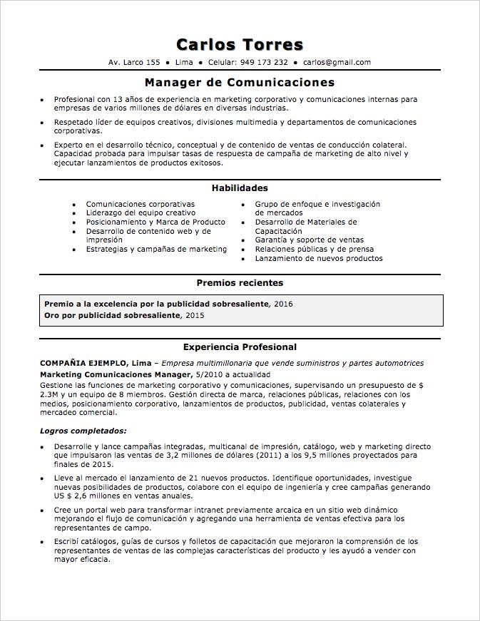 Modelo CV con mucha experiencia