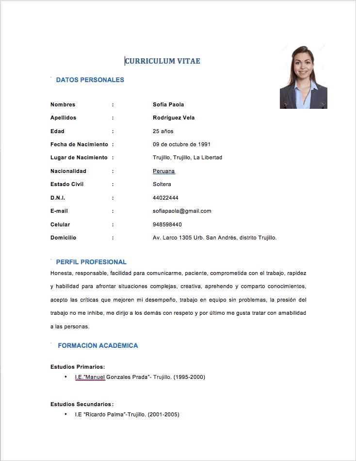 Modelo CV con poca experiencia